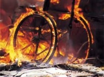 burning wheelchair
